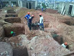 Excavation of foundation for footing work