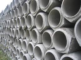 Precast Concrete pipe on storage and ready to use