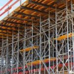 Scaffolding used in construction
