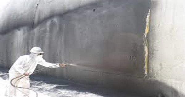 Applying Water proofing material on the lining surface of Tunnel