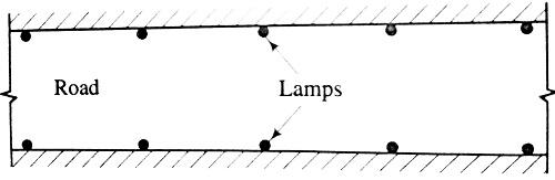 Highway lights- opposite arrangement
