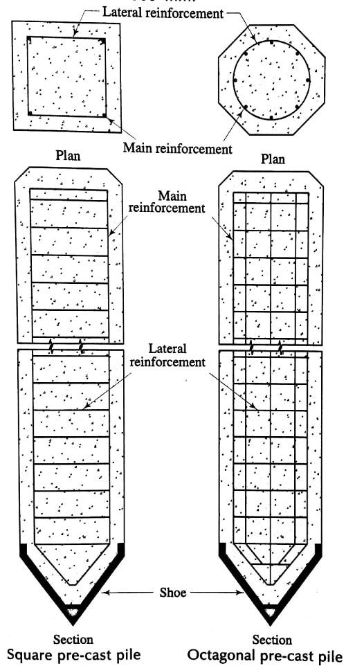 Square precast concrete pile and Octagonal precast pile